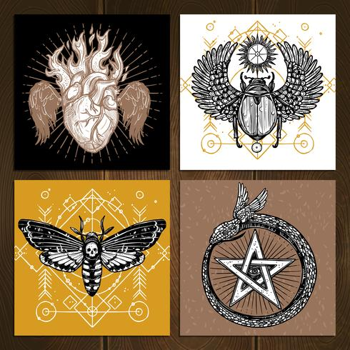 Occult Tattoo Set vektor