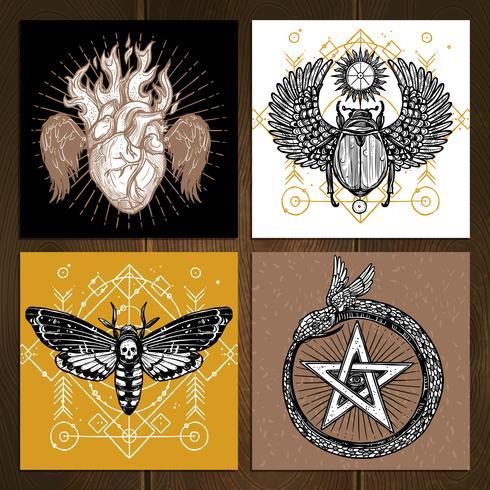 Okkultes Tattoo Set vektor