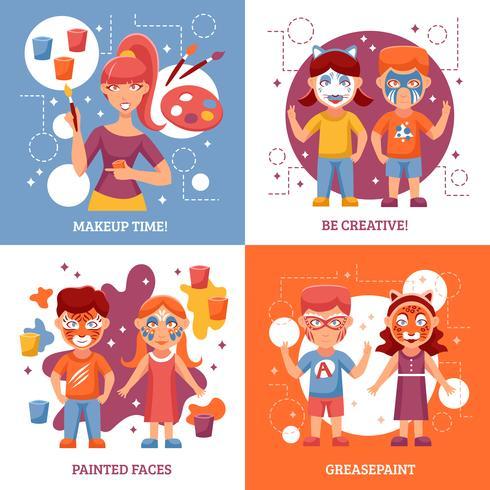Barn med målade ansiktsbegreppssymboler vektor