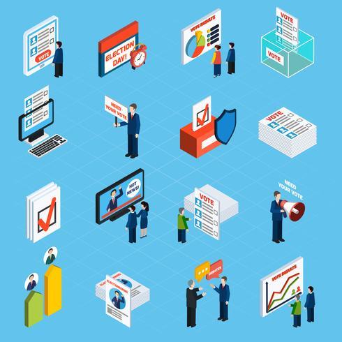 Valkampanj och omröstningsisometriska ikoner vektor