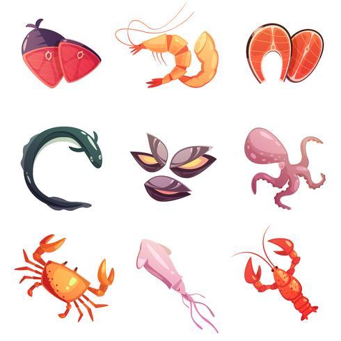 Meeresfrüchte Retro Cartoon Icons Set vektor