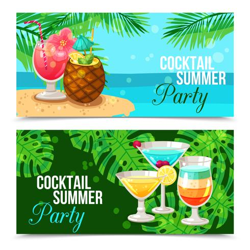 Tropiska Cocktails Horisontella Banderoller vektor