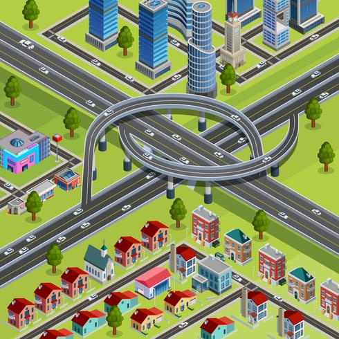City Roads Junction Interchange Isometric Poster vektor