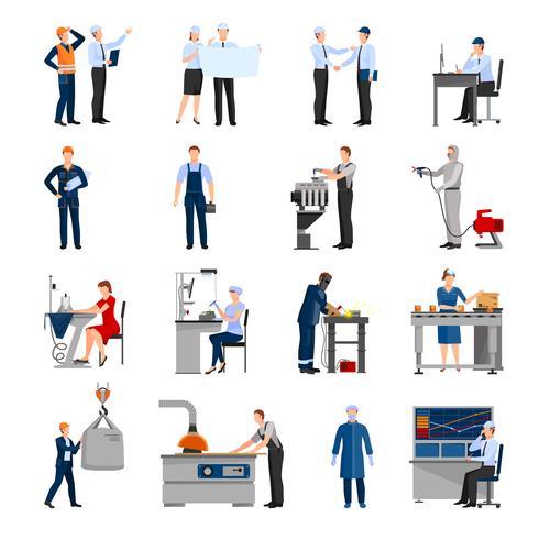 Fabriksarbetare Människor Ikoner Set vektor