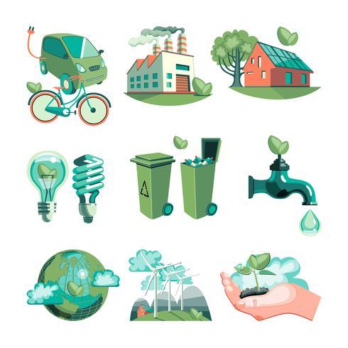 Ekologi Dekorativa ikoner Set vektor