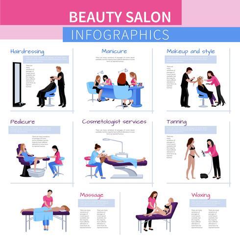 Schönheitssalon Wohnung Infografiken vektor