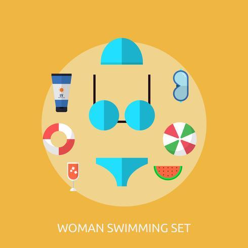 Kvinna Simning Konceptuell Illustration Design vektor