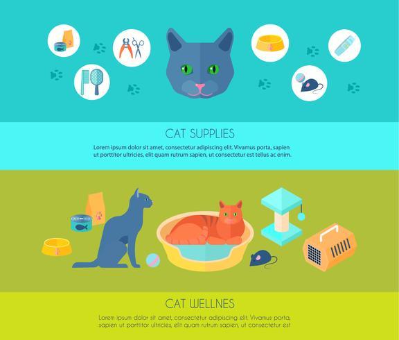 Katter platt banners komposition poster vektor