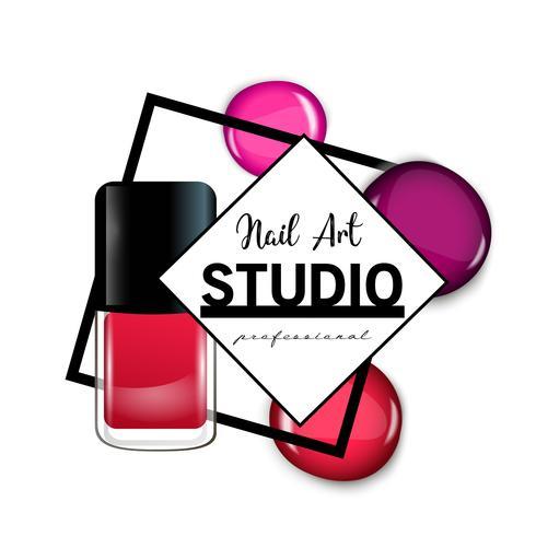 Nail Art Studio logo design mall. vektor