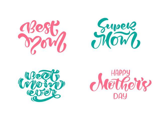 Sats med fraser på Happy Mother's Day. Vektor bokstäver kalligrafi text. Moderna vintagehandritade citat. Bästa mamma någonsin illustration