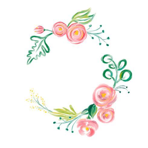 Gullig vår Akvarell Vector Blomsterkrans med plats för text. Konst isolerad illustration för bröllop eller semesterdesign, Handdragen färgrosor