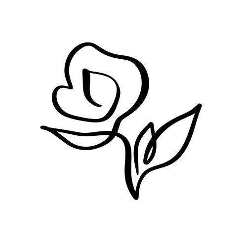Rose Blumenkonzept. Ununterbrochene Linie Handzeichnung kalligraphisches Vektorlogo. Skandinavisches Frühlingsblumenmusterelement im minimalen Stil. Schwarz und weiß vektor