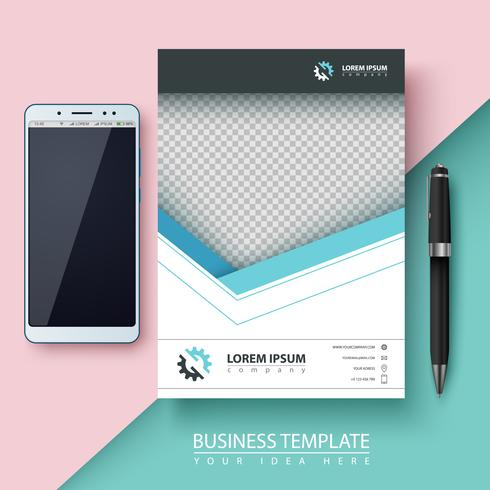 Geschäftsvorlage. Papier, Smartphone, Stift. vektor