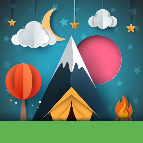 Karikaturpapierlandschaft. Baum, Berg, Feuer, Zelt, Mond, Wolkensternabbildung. vektor
