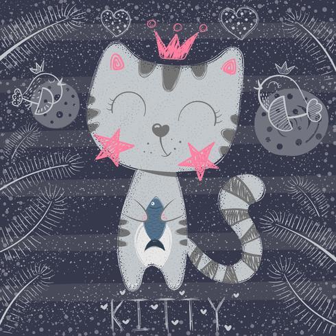 Söt liten prinsessa - rolig katt vektor