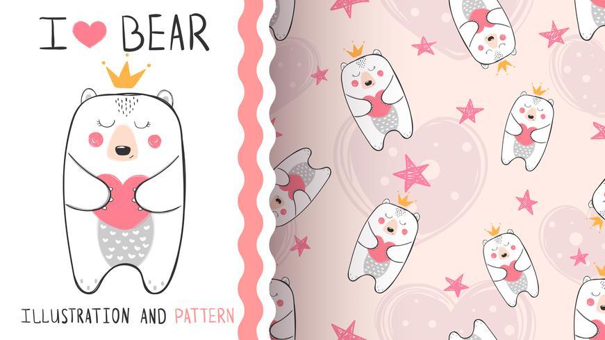 Kleine Bärenprinzessin - nahtloses Muster vektor