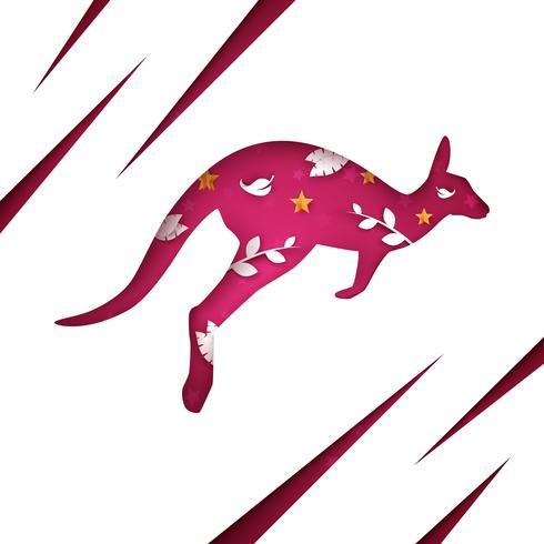 Tecknad papper känguru. Moln landskap. vektor