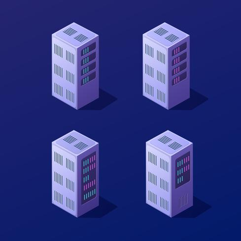 Isometrisk 3D-uppsättning blockchain vektor