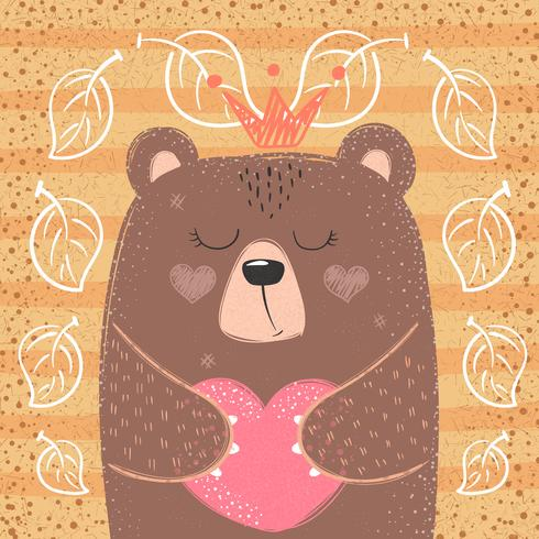 Söt prinsessebjörn - tecknad illustration. vektor