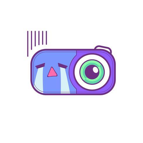 söt kamera klistermärke emoticon vektor