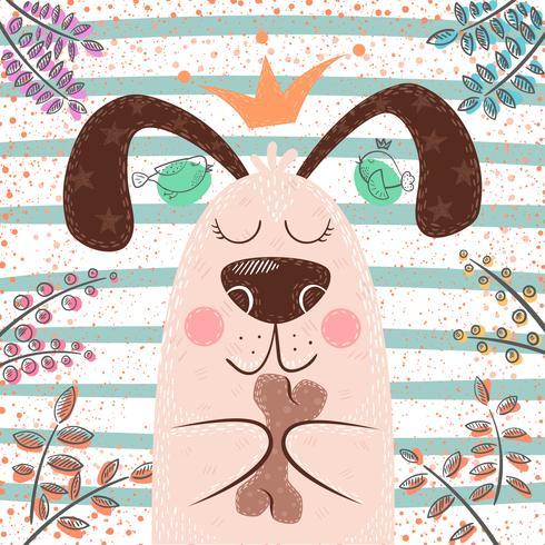Prinsessan söt hund - tecknade figurer vektor
