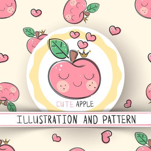 Söt äpple - sömlöst konsistensmönster vektor