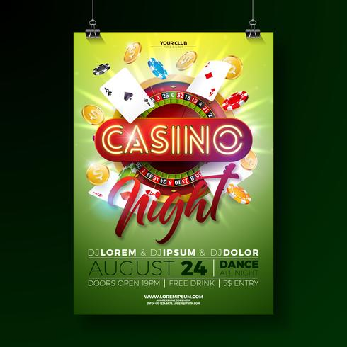 Vector Casino natt flygblad illustration med spel designelement och glänsande neon ljus bokstäver på grön bakgrund.