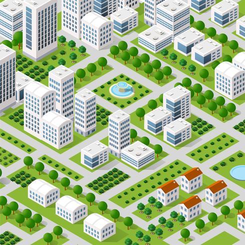 Vektor isometrisk stadsarkitektur
