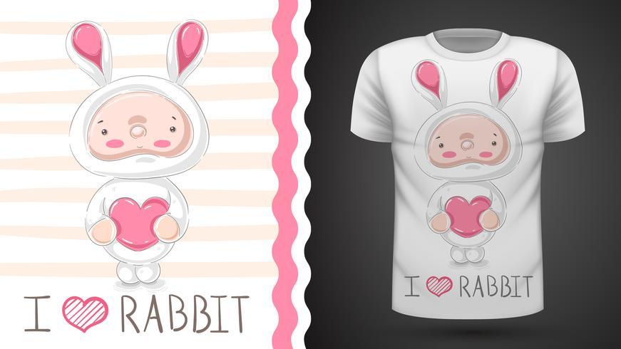 Söt baby kanin - idé för tryckt-shirt vektor