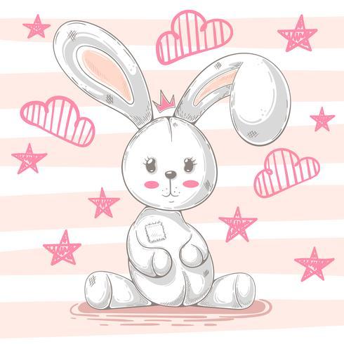 Gullig teddy kanin - tecknad illustration. vektor