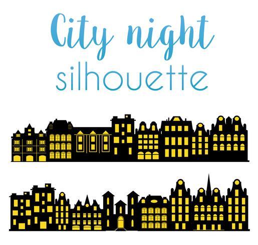 Natt silhuett av staden vektor