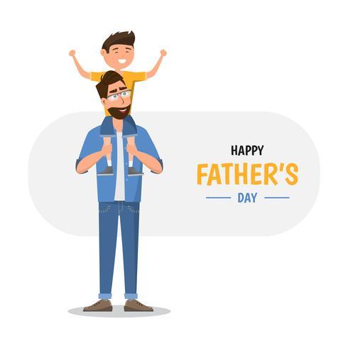 Glad fars dag. Pappa håller sin son vektor