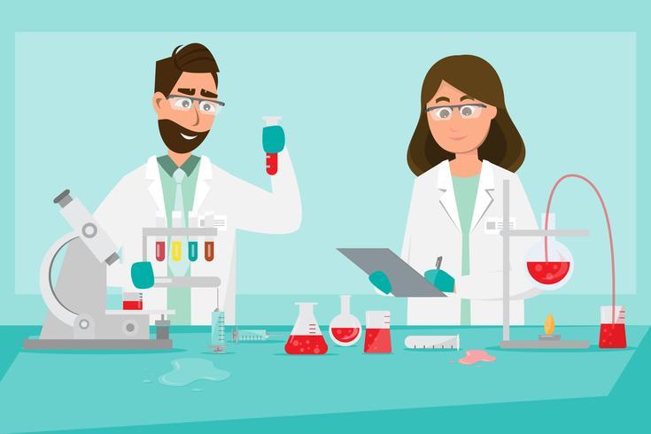 medizinisches Konzept Wissenschaftler forschen in einem Labor vektor