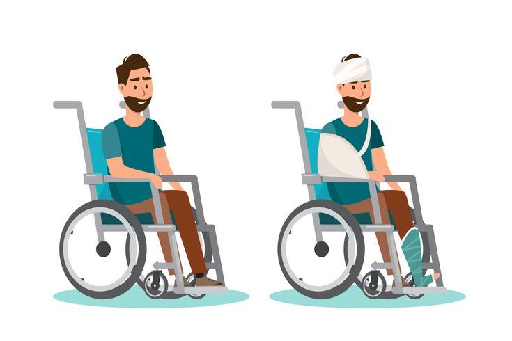 Mannen sitter på en rullstol med vit bakgrund vektor