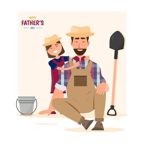 Alles gute zum Vatertag. Tochter umarmen ihren Vater vektor