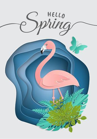 Skiva av papper, origami, Rosa flamingo i tropiska löv. Sommar trendig tropisk mall med blinkande eldflugor och exotiska palmblad i en cirkel. Wildlife koncept. Vektor blommig bakgrund