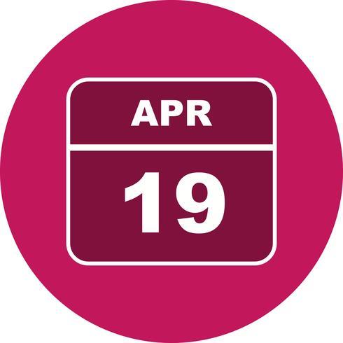 19. April Datum an einem Tagkalender vektor