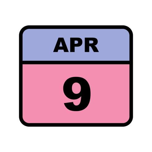 9 april Datum på en enkel dagskalender vektor
