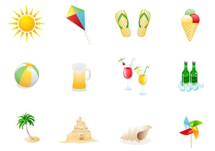 Strand ikoner vektor pack två