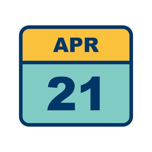Datum des 21. April für einen Tagkalender vektor