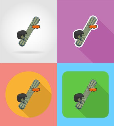 Sportutrustning för snowboarding Plana ikoner vektor illustration
