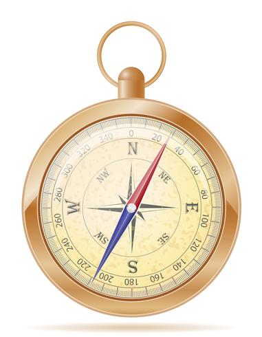 Weinleseikonenvorrat-Vektorillustration des Kompasses alte vektor