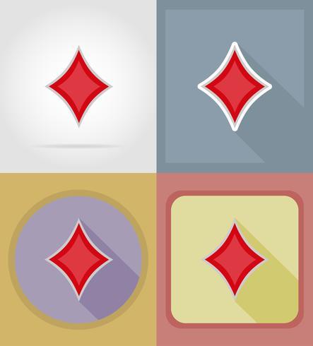 Flache Ikonen des Diamantkartenanzug-Kasinos vector Illustration
