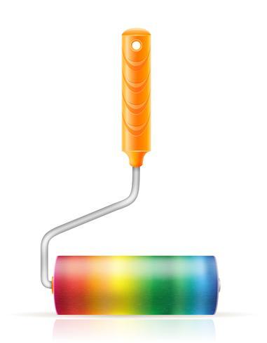 konst kreativ färg rullborste koncept vektor illustration