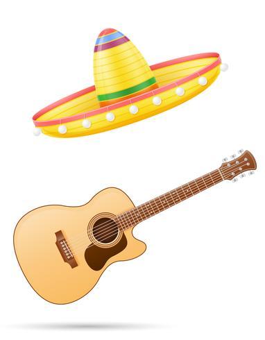 Nationale mexikanische Kopfschmuck- und Gitarrenvektorillustration des Sombrero vektor