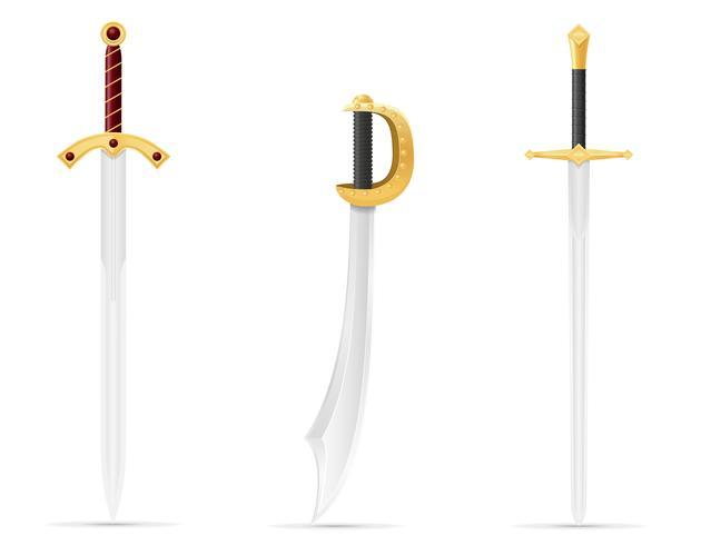 Kampfschwert mittelalterliche Vektorillustration vektor