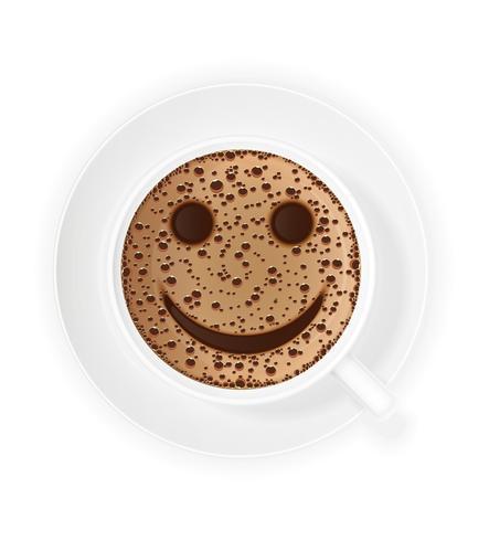 kopp kaffe crema och smiley symbol vektor illustration