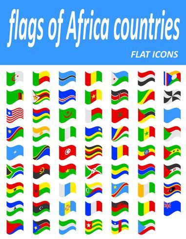 flaggor av Afrika länder platt ikoner vektor illustration