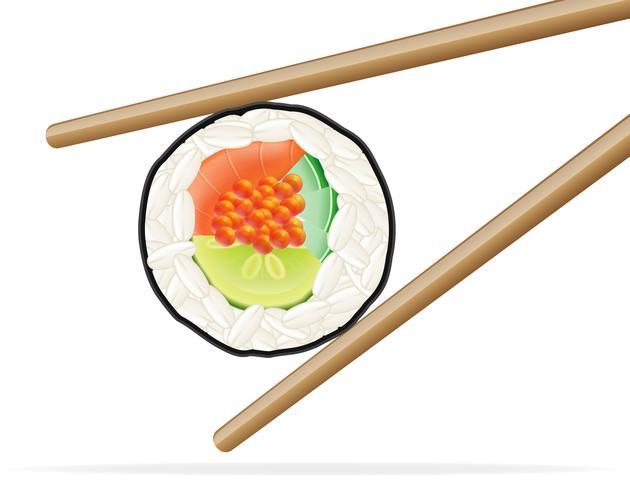sushi och ätpinnar vektor illustration