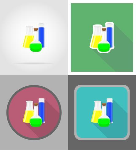 Glasreagenzglas mit Farbflüssigkeitsflache Ikonen vector Illustration